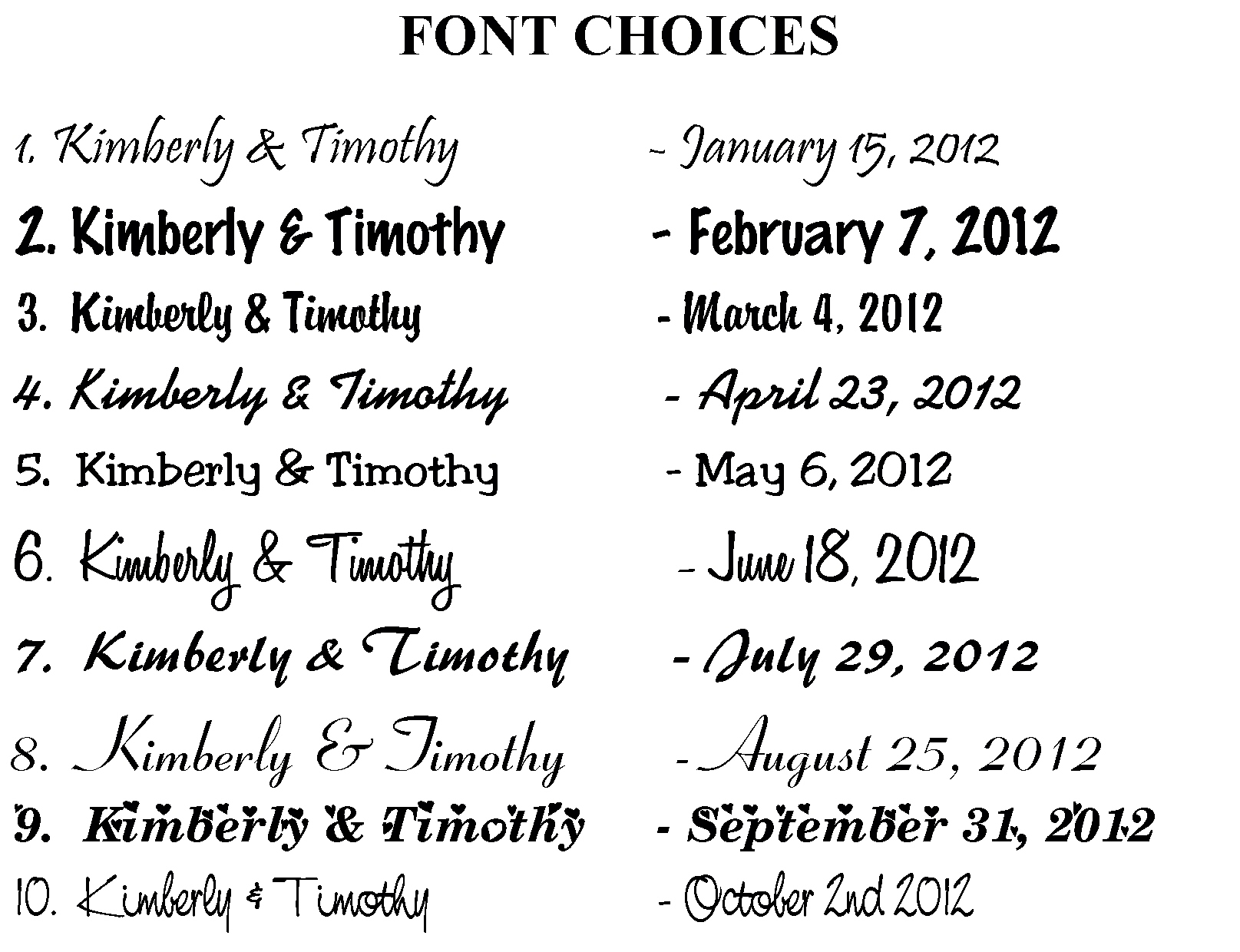 fonts wedding images